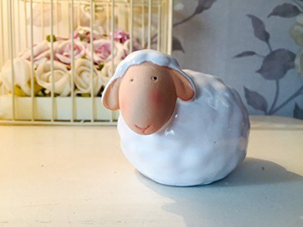 Pottery Glazed Sheep Easter Ornament
